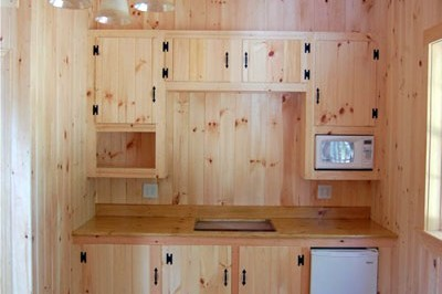 Tack room with site built kitchenette