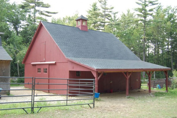 34x36x10 horse barn with shed roof