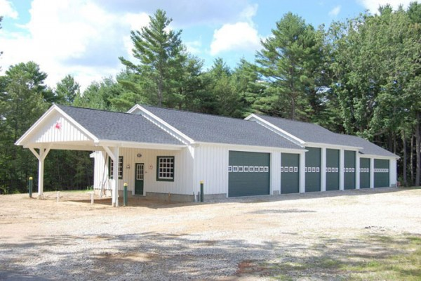 32x115 seven-bay equipment barn with workshop and carport